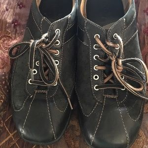 Born black leather sneakers